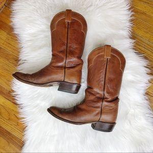 Vintage Tony Lama Brown Cowboy Boots 5084 Size 10